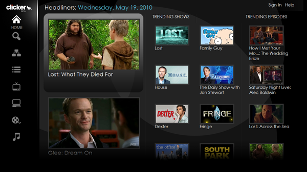 The interface of GoogleTV