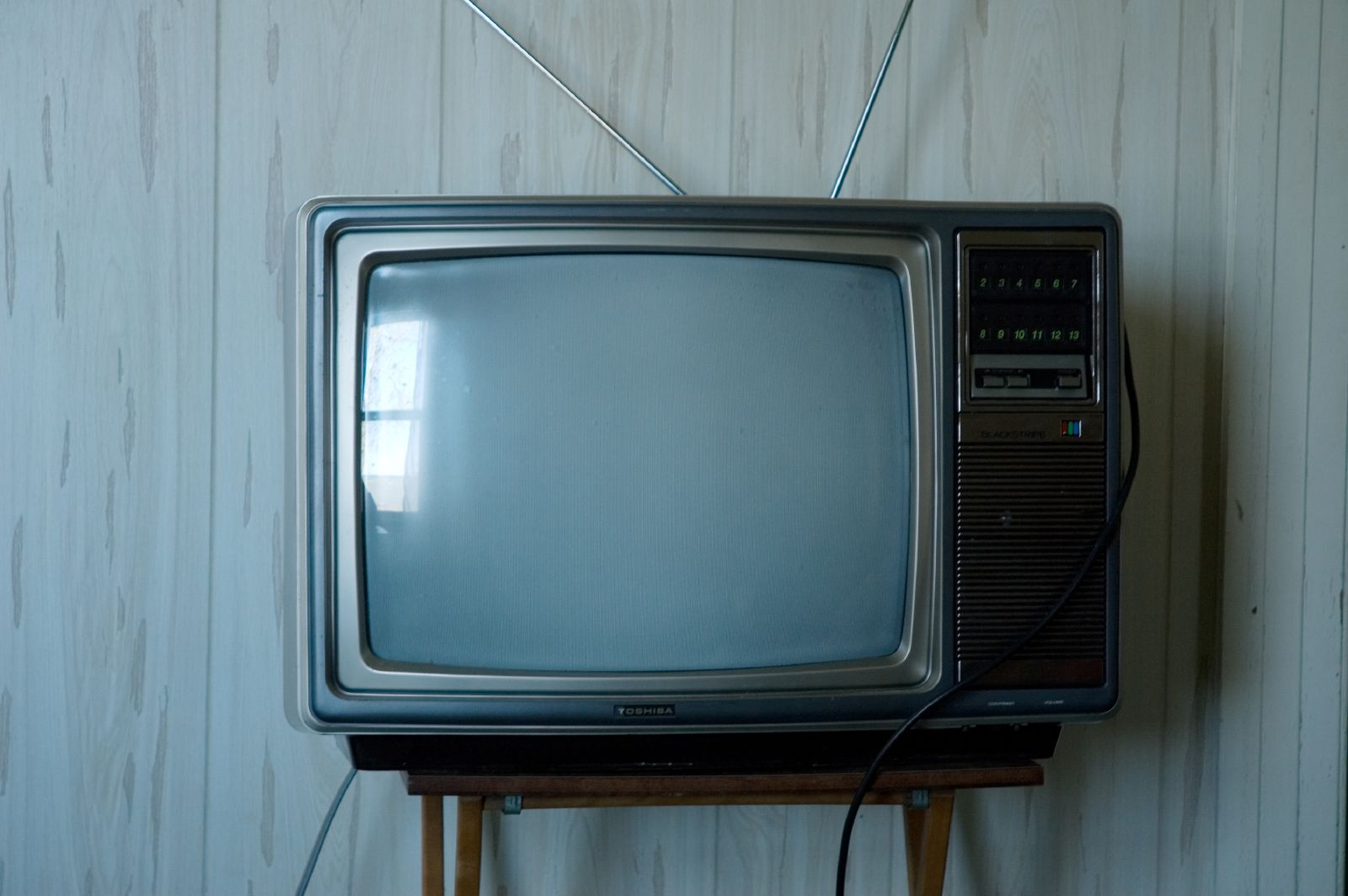 Old Television Set with Antenna