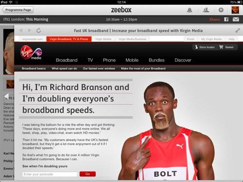 Overlay Example of a Zeebox Advertisment