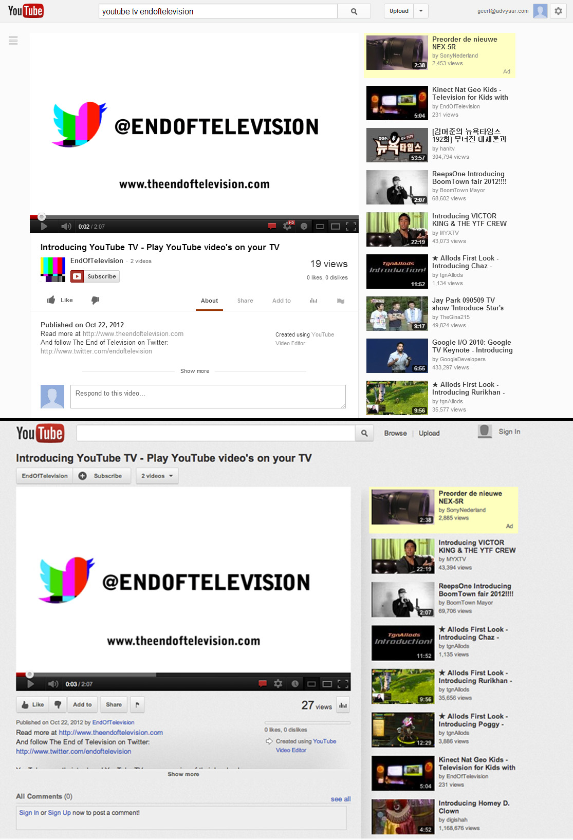 YouTube more Social Redesign of the Videopage