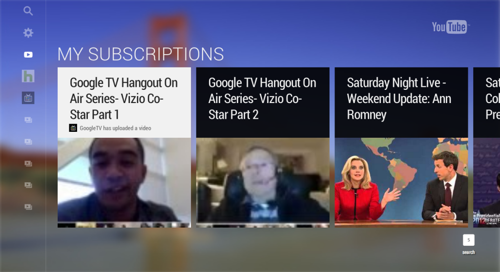 New interface for YouTube TV