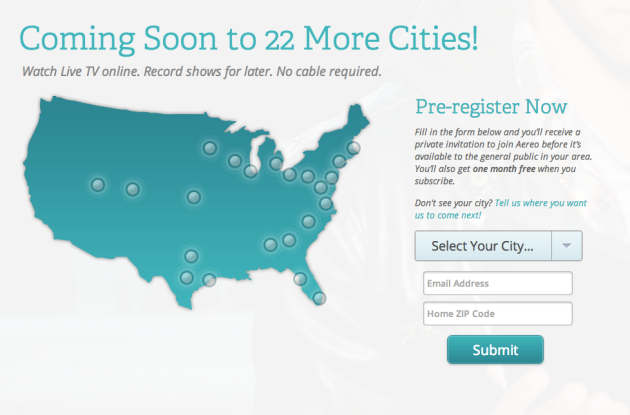 Aereo - Coming Soon to 22 More Cities